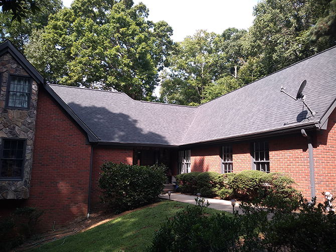 Asphalt shingle re-roof, done in Duluth Georgia by All Peaks Roofing