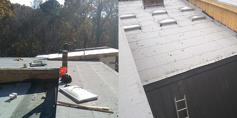 Low slope roof replacement done by All Peaks Roofing in North Atlanta